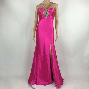 NWT Tony Bowls Hot Pink Beaded Prom Formal Size 6